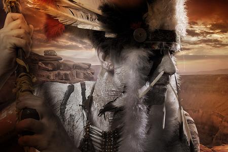 Natif Chiet indien américain au coucher du soleil Banque d'images - 28233164