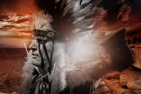 aboriginal woman: Native american indian chiet at sunset