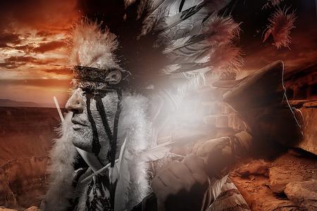Native american indian chiet při západu slunce