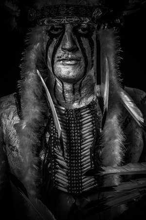 aboriginal woman: American Indian chief with big feather headdress, warrior