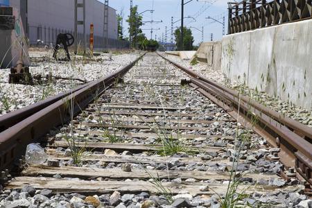 train rails, detail of railways in Spain photo