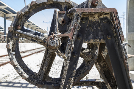 old freight train, metal machinery details photo