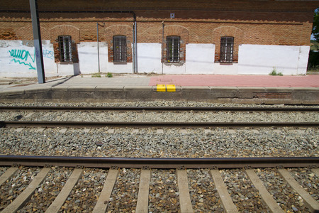 station, rail station, detail of railways in Spain photo