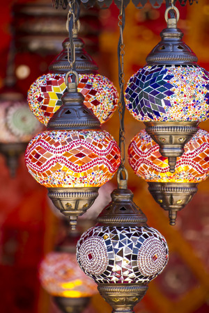 Decorative, Oriental style lamps craft in a bazaar Stock Photo