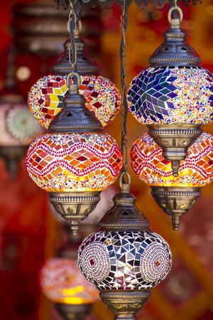 Decorative, Oriental style lamps craft in a bazaar Foto de archivo