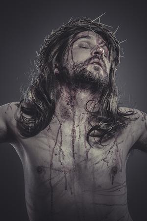 Jésus-Christ, Jésus de Nazareth, la représentation du Calvaire Banque d'images - 28500244