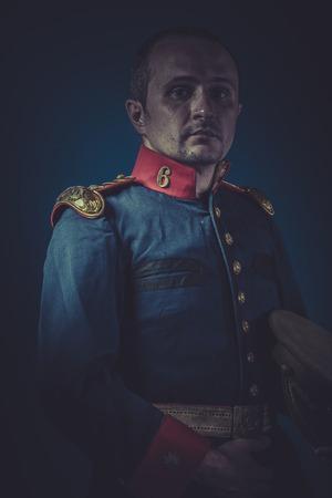 epaulettes: Leadership, general of the Spanish army, blue coat and gold epaulettes Stock Photo
