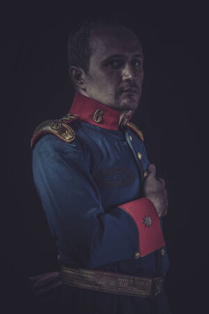 epaulettes: Retro, old soldier style jacket with blue and gold epaulettes, Spanish army