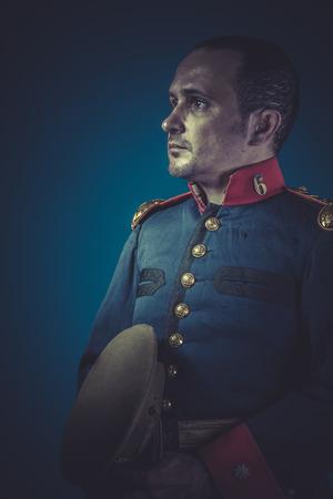 epaulettes: Retro general of the Spanish army, blue coat and gold epaulettes