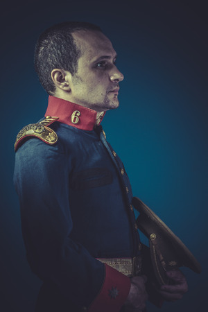 epaulettes: Officer,  general of the Spanish army, blue coat and gold epaulettes