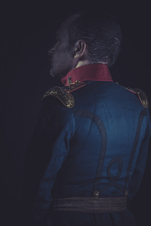 epaulettes: Historical, old soldier style jacket with blue and gold epaulettes, Spanish army