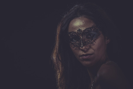 Mystery Woman mask, sensual lady with venetian and gothic style photo
