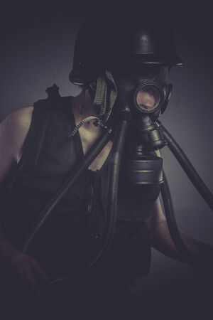 Environment, nuclear and toxicological disaster ,man with gas mask photo