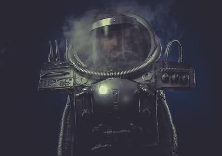robot man in space armor silver photo