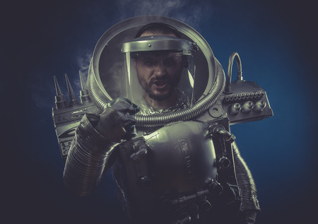 Intelligence, robot man in space armor silver photo