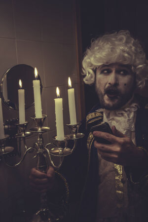 nineteenth: Camera Selfie, man with white wig and candlestick nineteenth century