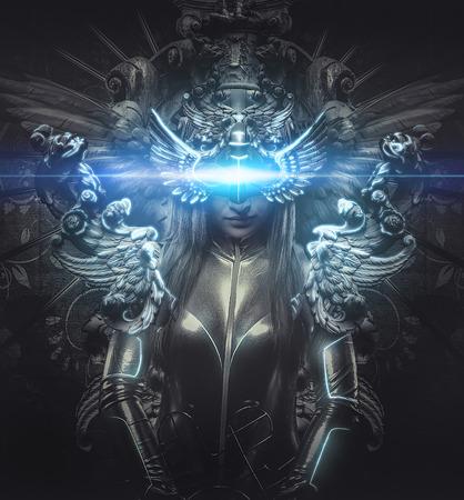 maquillaje de fantasia: deidad, vestido de la princesa de la plata, el concepto de fantasía, mujer rubia vestida con armadura