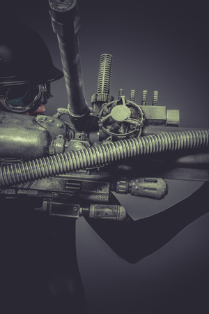 Science, Future soldier with huge weapon, sci-fi scene photo