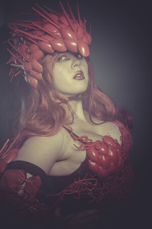 valkyrie: Seductive Valkyrie war woman dressed in red armor and helmet dragon scales