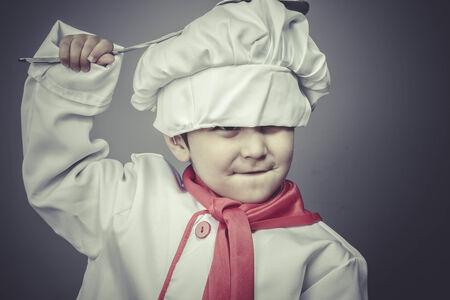 preparing, child dress funny chef, cooking utensils photo