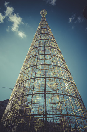 christmas tree at puerta del sol, Image of the city of Madrid, its characteristic architecture photo