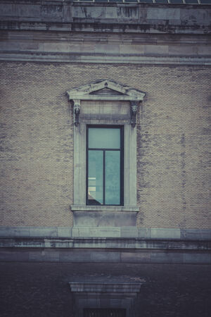 plaza: Window. National Library in Plaza de Colon, Madrid, Spain