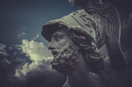 General Pericles, Greek sculptures over clouds background