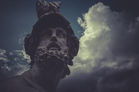 Pericles, classical Greek sculptures over clouds background photo