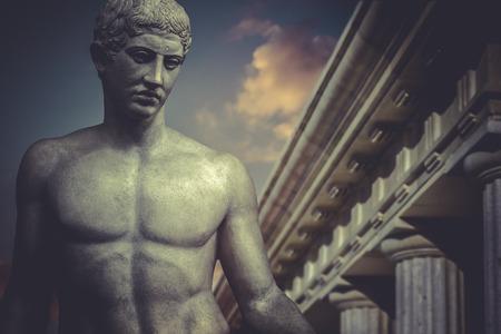 diosa griega: Escultura griega, apolo héroe, estatua clásica Foto de archivo
