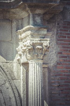 Pillar, Corinthian capitals, stone columns in old building in Spain photo
