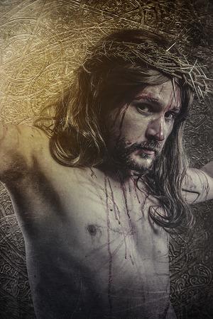 corona de espinas: jesucristo, la representación del Calvario, la pasión