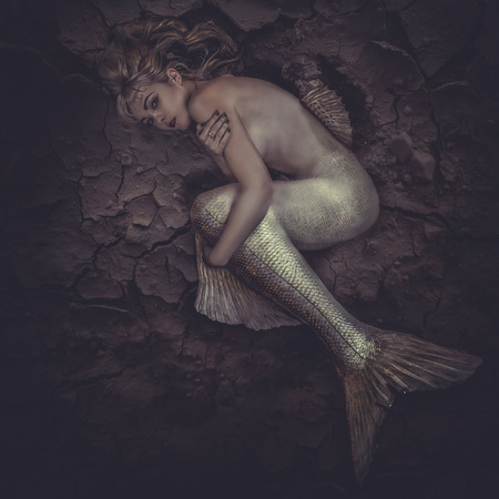 tail: mermaid trapped in a sea of ​​mud, concept fantasy fish woman with beautiful blond hair and her body scales Stock Photo