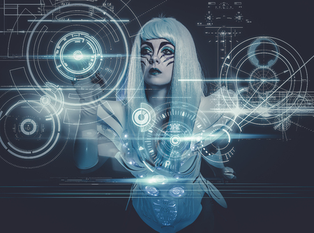 telecommunications woman controlling a future panel of lights and futuristic instruments photo