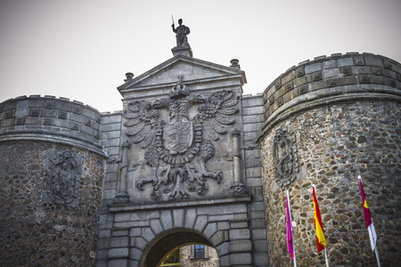 toledo town: main gate walls of the city of Toledo in Spain, walled town Editorial