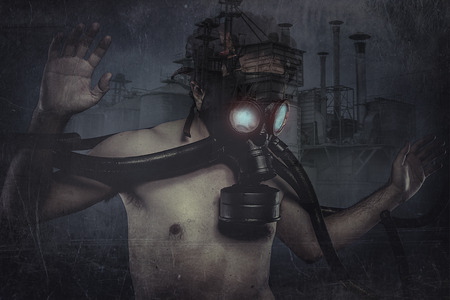 Nuclear man, dressed with gas mask photo