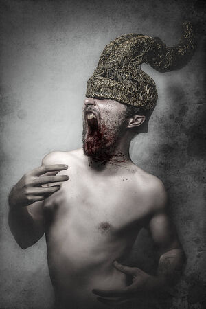 ghost, man with golden helmet horns concept nightmares photo