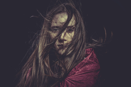 Stress, Young girl with hair flying, concept nightmares photo