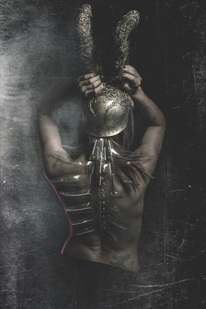 Warrior woman, Latina with Golden Helmet and naked photo