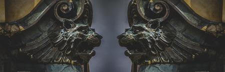 gargoyles: Gargoyles, gothic sculptures in madrid, spain Stock Photo