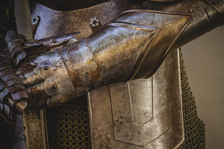 metal gloves, medieval armor made of wrought iron Stock Photo