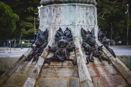 gargoyles: madrid, devil figure, bronze sculpture with demonic gargoyles and monsters