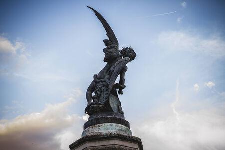 gargoyles: demon, devil figure, bronze sculpture with demonic gargoyles and monsters Stock Photo