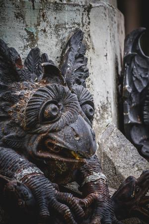 gargoyles: Symbol, devil figure, bronze sculpture with demonic gargoyles and monsters