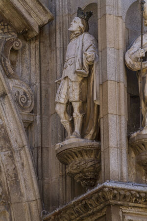 medieval, facade of the Cathedral of Toledo, Spain photo