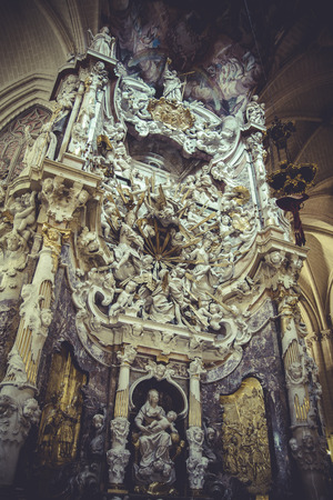 high altar: mary, high altar of the Cathedral of Toledo, gothic style sculptures churregesco Editorial