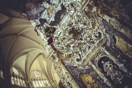 high altar: faith, high altar of the Cathedral of Toledo, gothic style sculptures churregesco