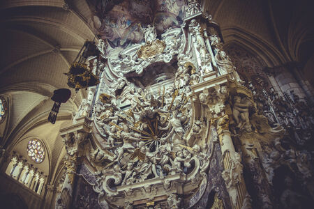 high altar: temple, high altar of the Cathedral of Toledo, gothic style sculptures churregesco Stock Photo
