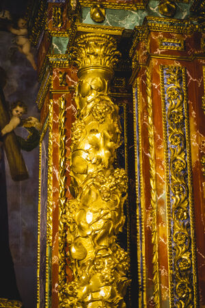column capitals  covered with gold leaf religion photo