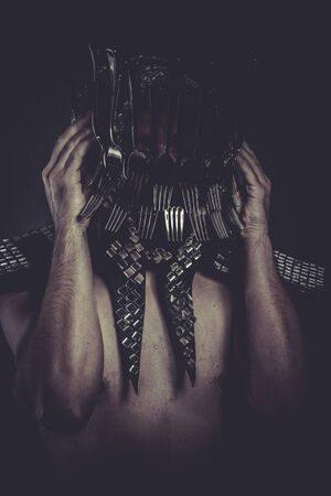 knife, Man with helmet made of forks and knives, concept photo