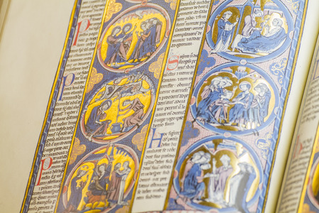 medieval handwritten book by Christian monks photo